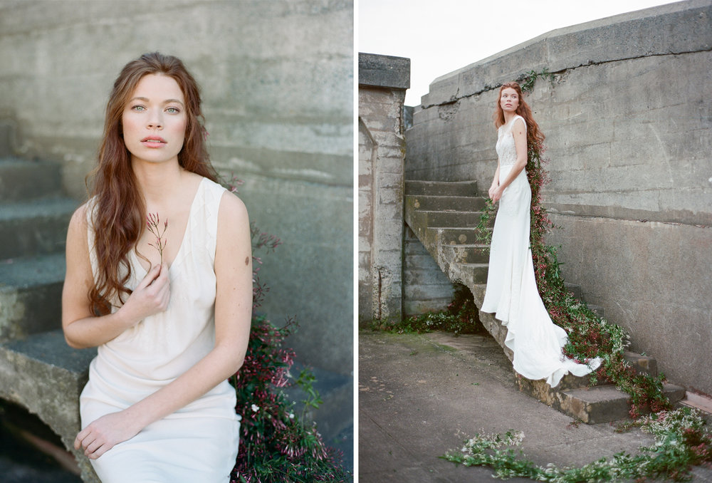 Barefoot red-haired bride with jasmine in her hair at an abandoned bunker in San Francisco