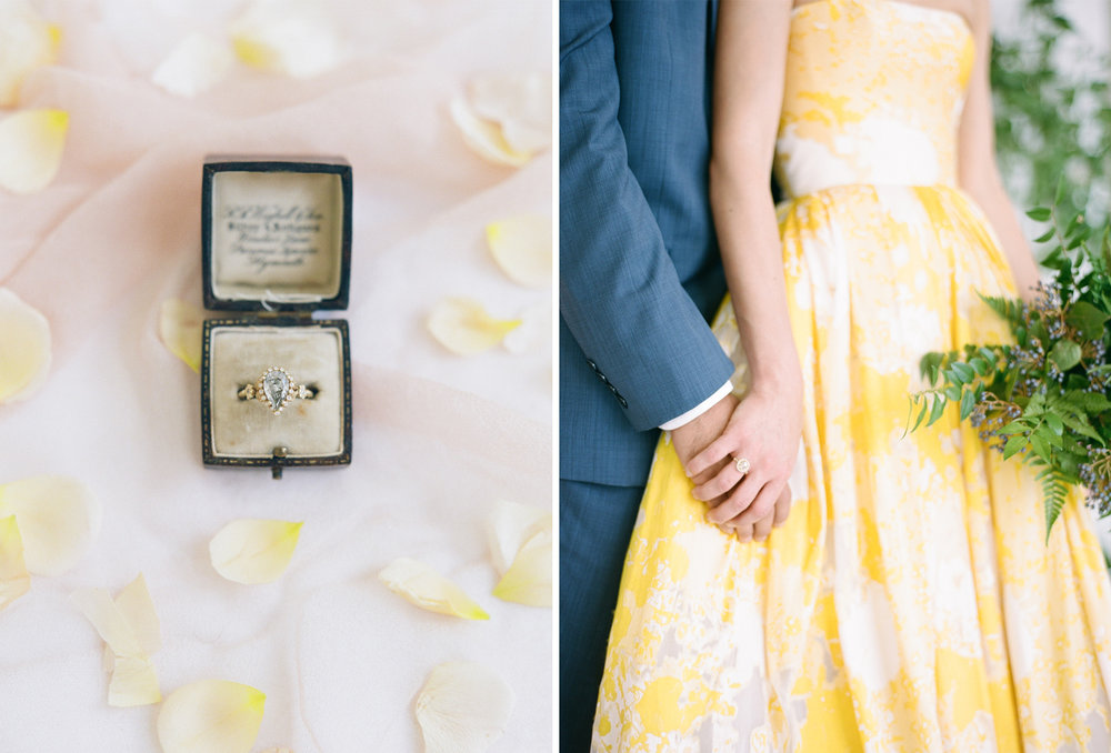 A bride and groom wearing vintage rings; Sylvie Gil Photography
