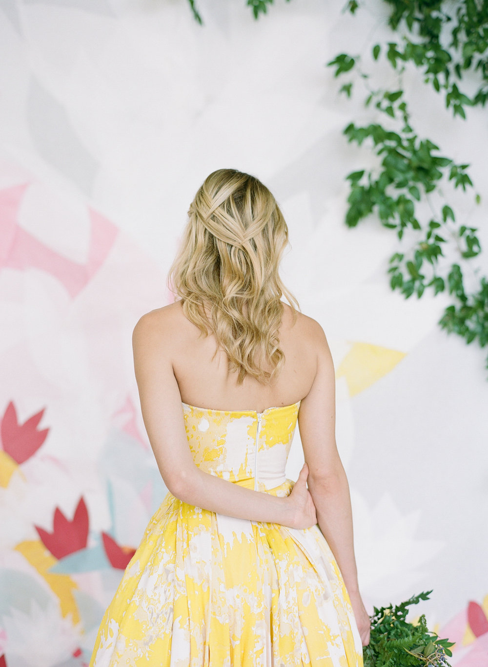 A bride in a colorful yellow wedding gown for a Flutter Magazine editorial spread; Sylvie Gil Photography