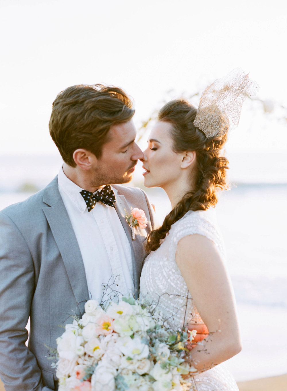 A bride and groom on the California coast with nautical accents; Sylvie Gil Photography