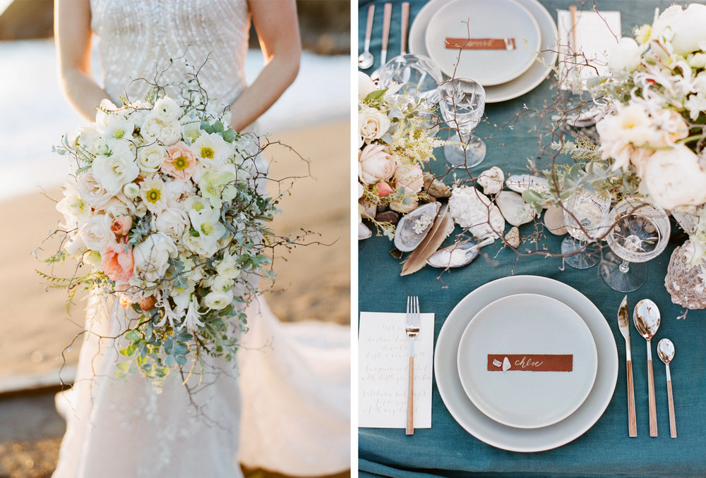 A bride with a pastel bouquet and seashell accents on the reception table; Sylvie Gil Photography