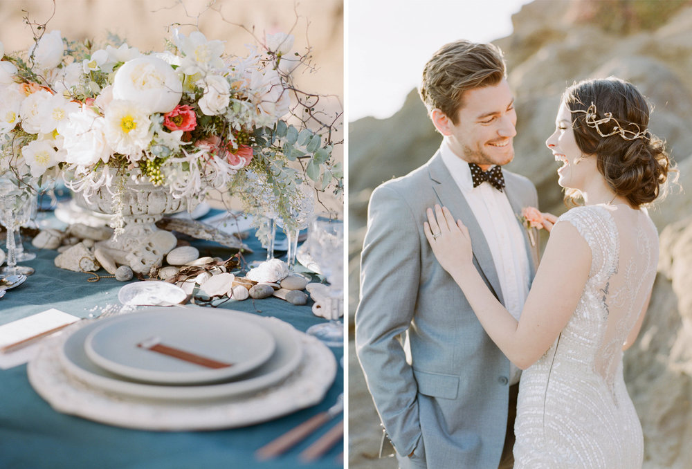 A reception table decorated with seashells and nautical accents; Sylvie Gil Photography