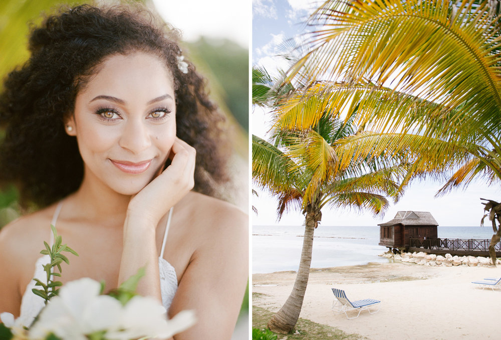 A beautiful Jamaican bride with amber eyes in an editorial shoot in Montego Bay; Sylvie Gil Photography