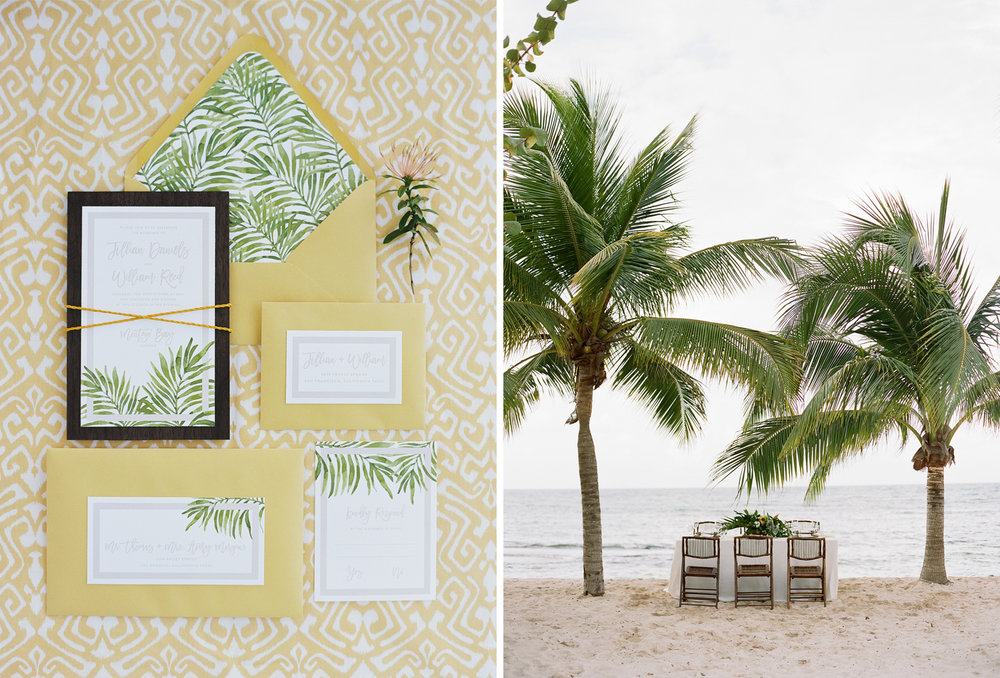 An intimate beach wedding reception under palm trees in Montego Bay and a palm-themed invitation suite; Sylvie Gil Photography