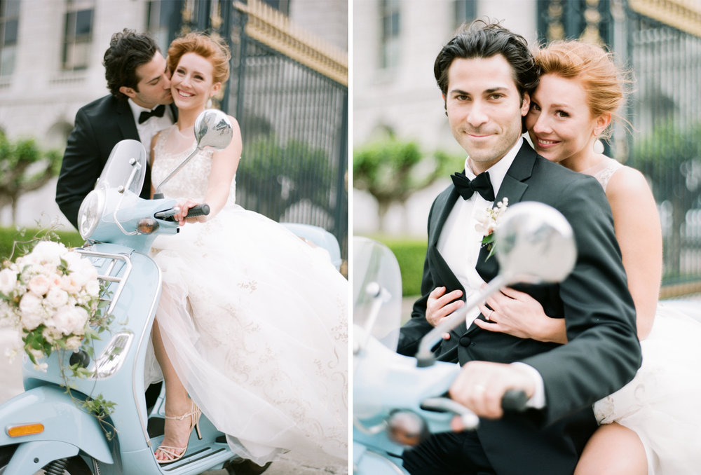 Bride and groom share a kiss on a turquoise Vespa scooter outside San Francisco City Hall; Sylvie Gil Photography