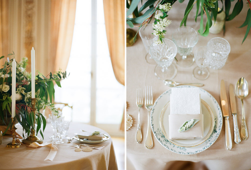 Table settings from a wedding reception in Pavillon de la Musique; Sylvie Gil Photography