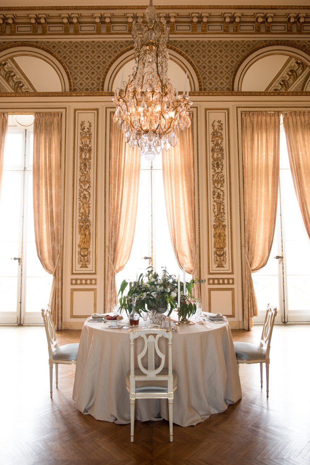 A wedding reception table in a ballroom at Pavillon de la Musique in Paris, France; Sylvie Gil Photography