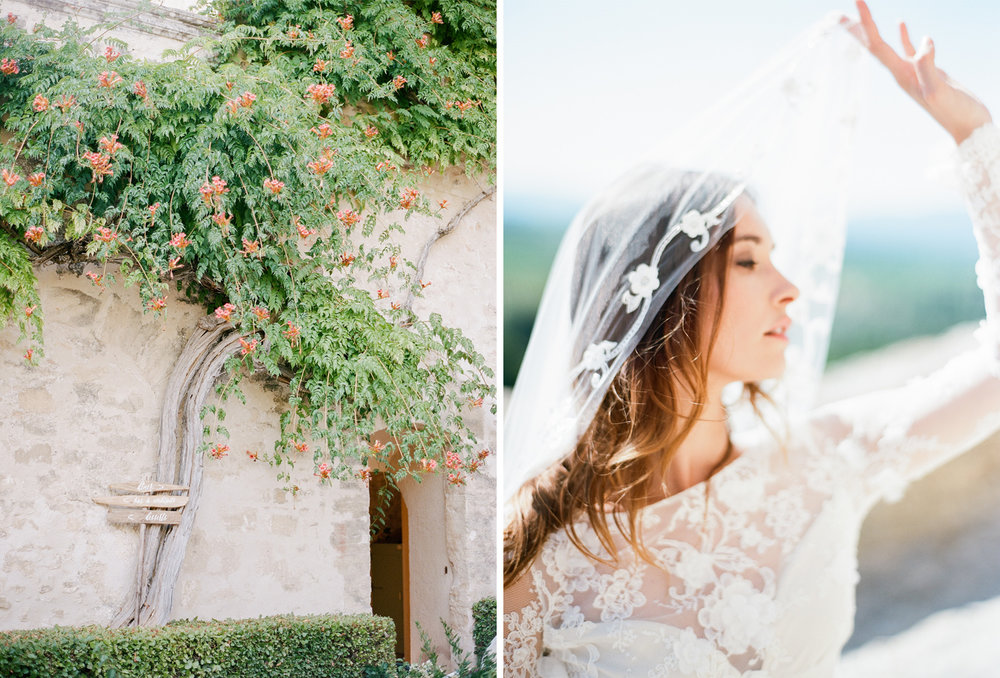 A bride plays with her lace veil on a chateau rooftop in Provence, France; Sylvie Gil Photography