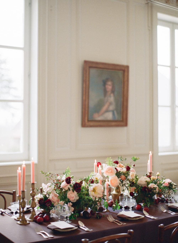 An aubergine reception table at Chateau de Varennes; Sylvie Gil Photography
