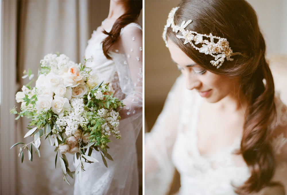 A bride with a pearl headpiece stands by the window in Chateau de Varennes; Sylvie Gil Photography
