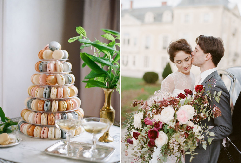 A tower of pastel macarons at a wedding in Burgundy, France; Sylvie Gil Photography