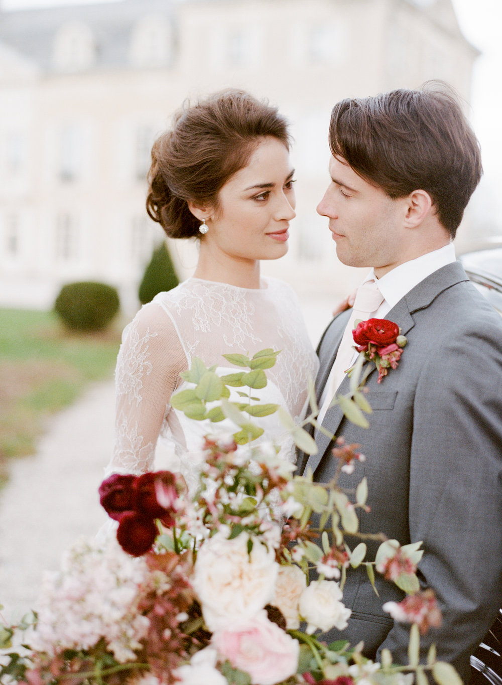 A bride and groom couple session after a wedding at Chateau de Varennes, in Burgundy, France; Sylvie Gil Photography