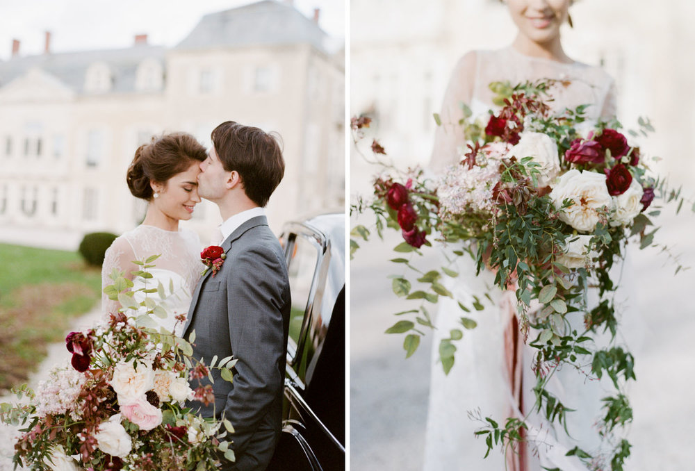A bride shows off a sprawling foraged bouquet of blush peonies, burgundy roses, and vines; Sylvie Gil Photography
