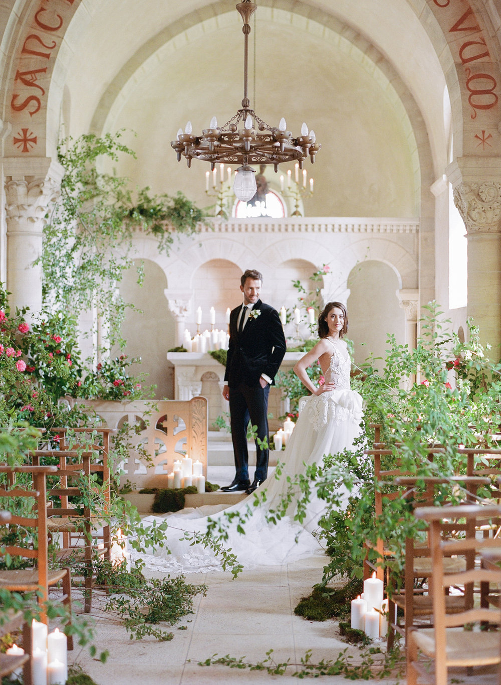 A wedding ceremony in a chapel at Chateau de Varennes; Sylvie Gil Photography