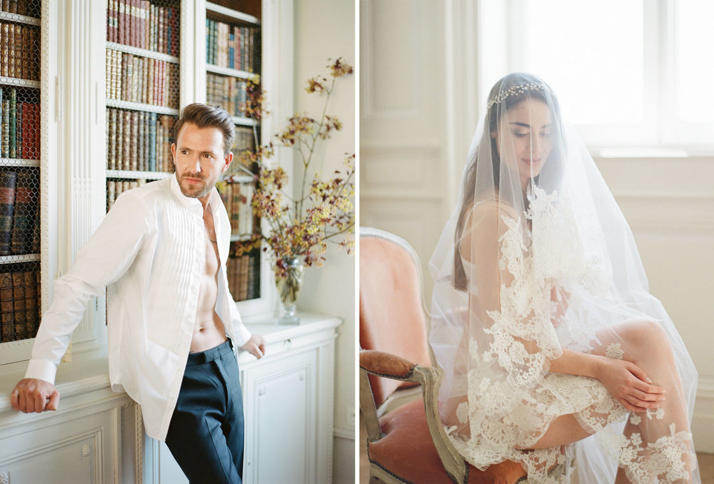 Bride and groom boudoir sessions before the wedding; Sylvie Gil Photography