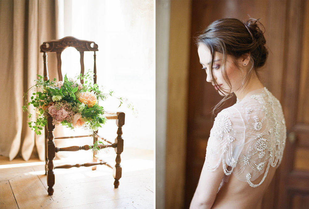 The bride's bouquet sits on a chair by the window in Burgundy France; Sylvie Gil Photography