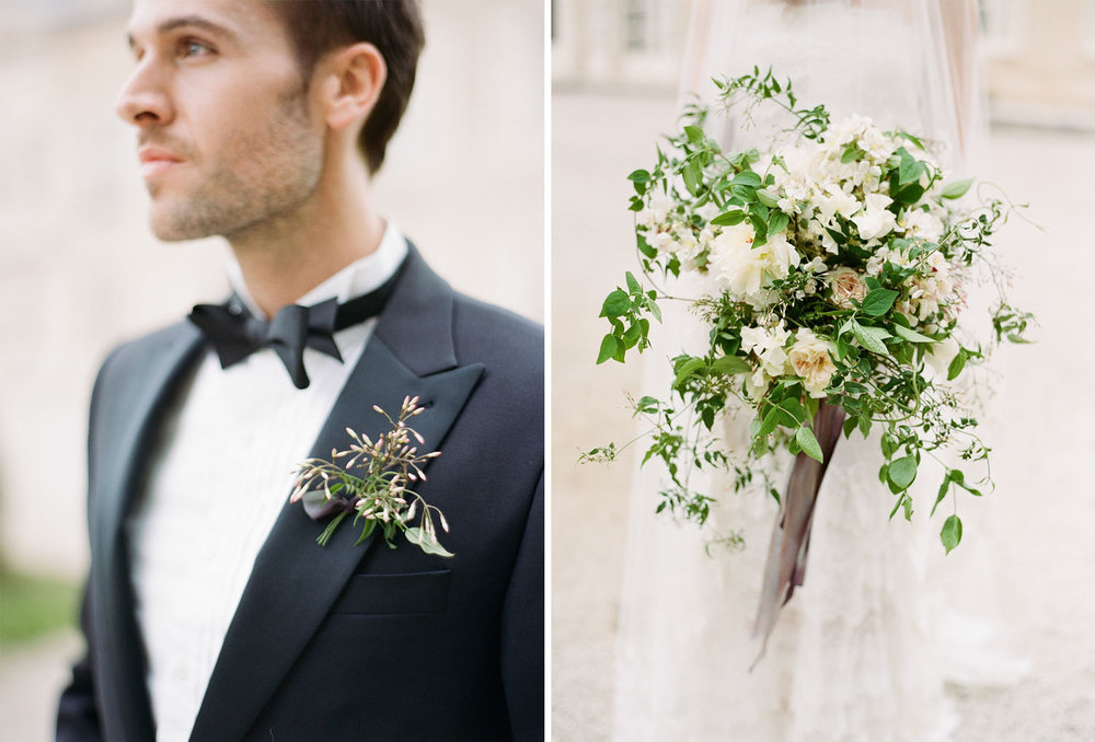 Bride and groom before a wedding at Chateau de Varennes in Burgundy, France; Sylvie Gil Photography