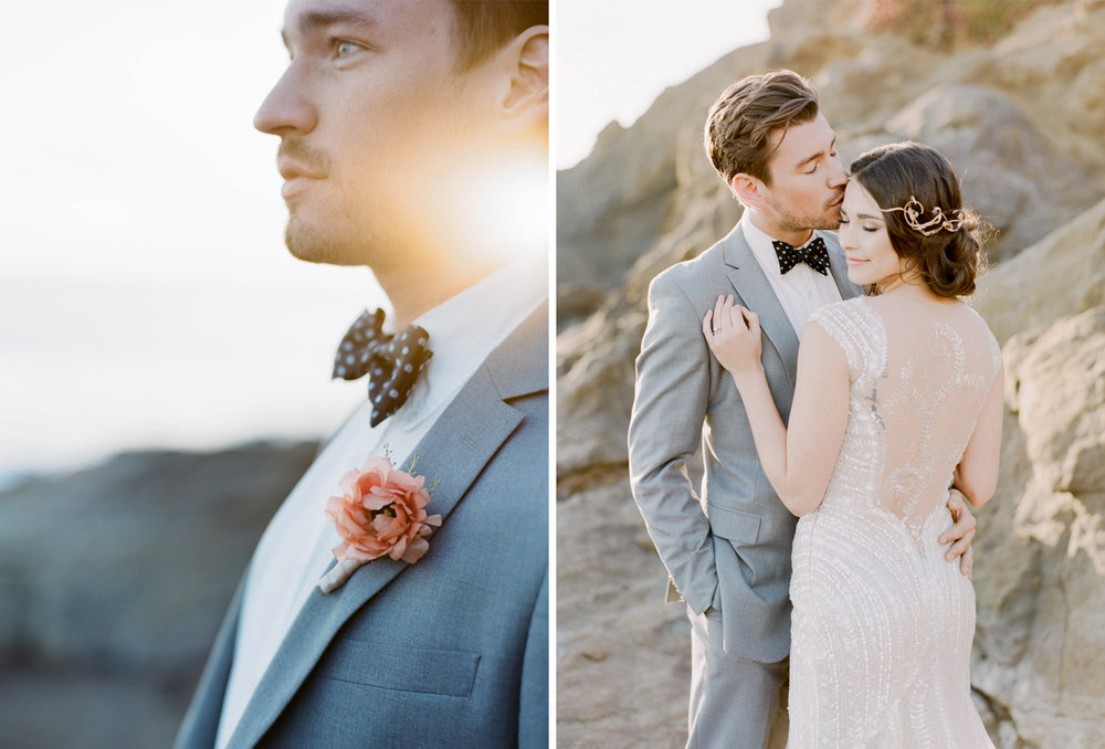 Bride and groom in love at a beach wedding in California; Sylvie Gil Photography