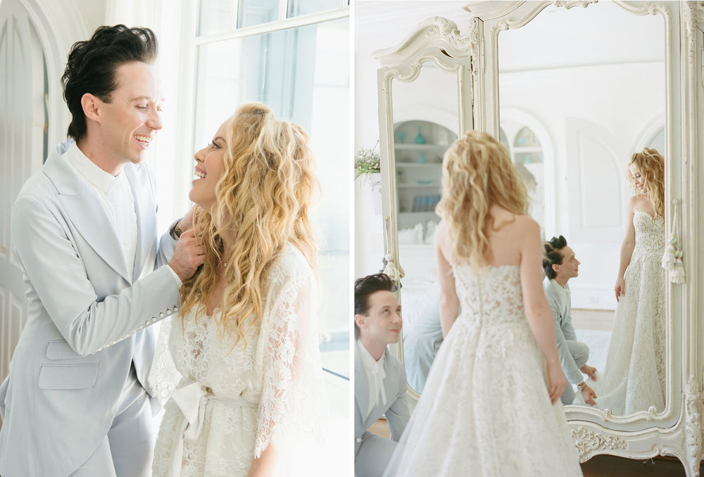 Figure skater Johnny Weir jokes with Tara Lipinski on her wedding day in Charleston; Sylvie Gil Photography