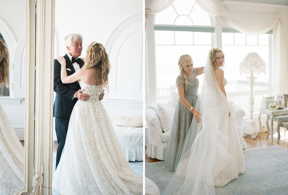 Tara Lipinski with her parents on her wedding day, getting ready; Sylvie Gil Photography