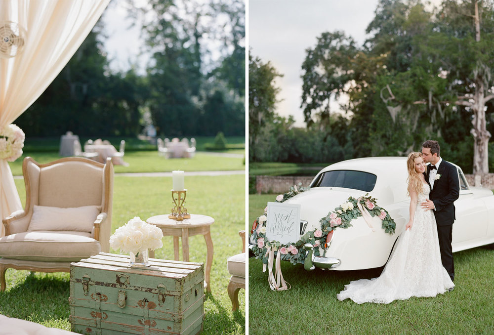 Tara Lipinski and Todd Kapostasy kiss by their vintage getaway car in Charleston, South Carolina; Sylvie Gil Photography