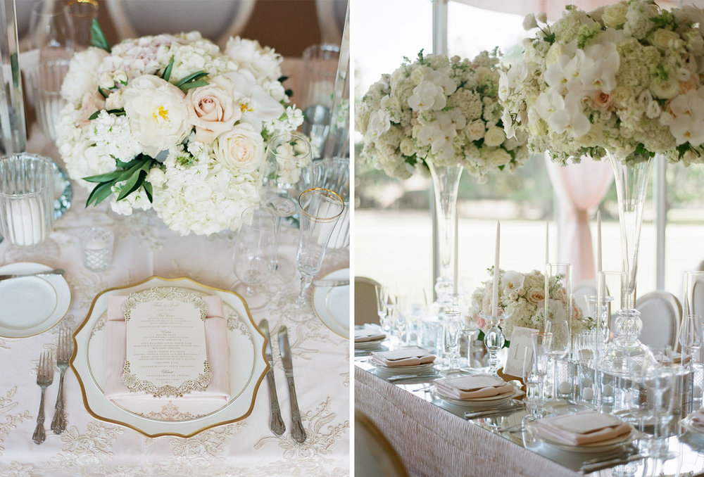 A Southern brocade and lace reception table in pink and white for Tara Lipinski's wedding in Charleston, South Carolina; Sylvie Gil Photography