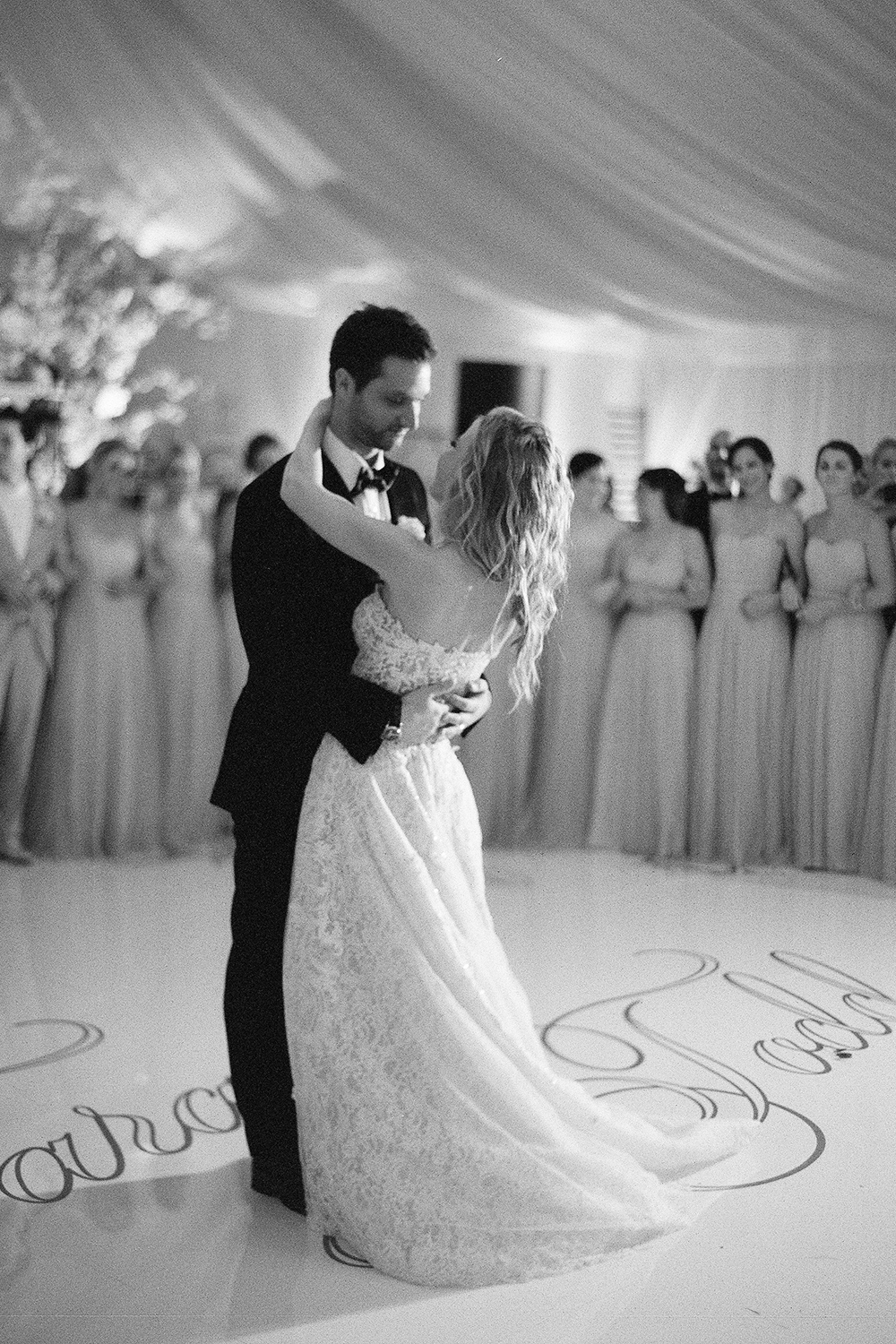 Tara Lipinski and Todd Kapostasy's first dance at their wedding reception in Charleston, South Carolina; Sylvie Gil Photography