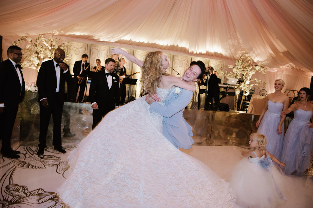 Figure skating olympians Tara Lipinski and Johnny Weir dance at Lipinski's' wedding in Charleston; Sylvie Gil Photography