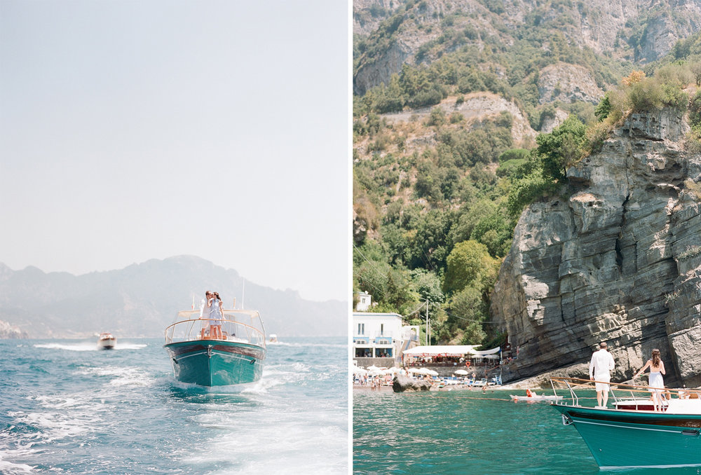 A couple dances on a boat on their way to the Amalfi Coast, in Italy; Sylvie Gil Photography