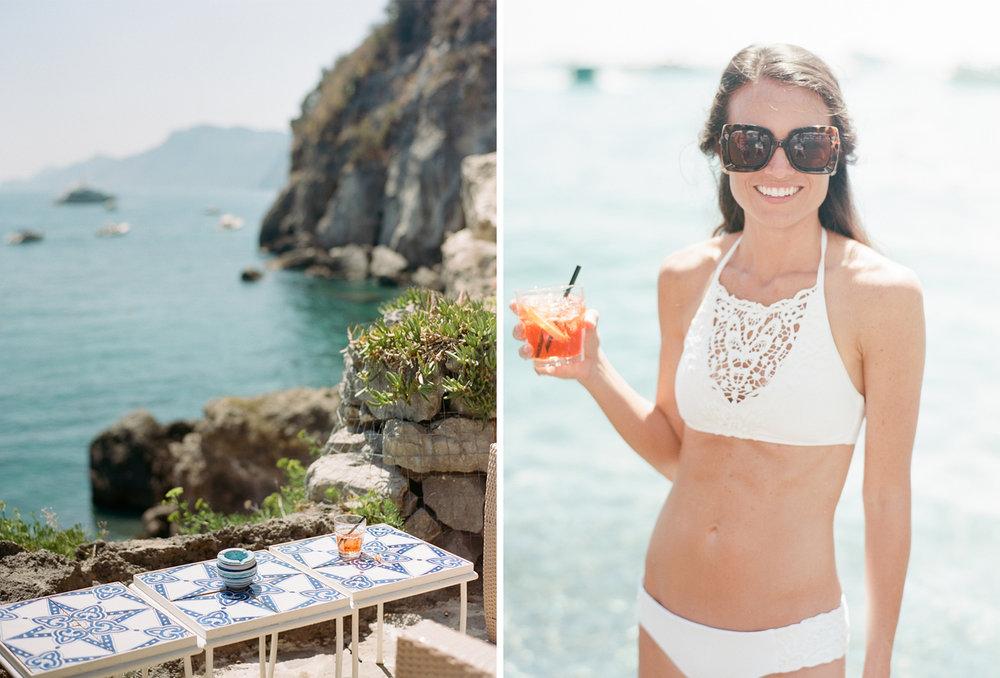 A bride sips campari in a white bikini in Positano, Italy; Sylvie Gil Photography