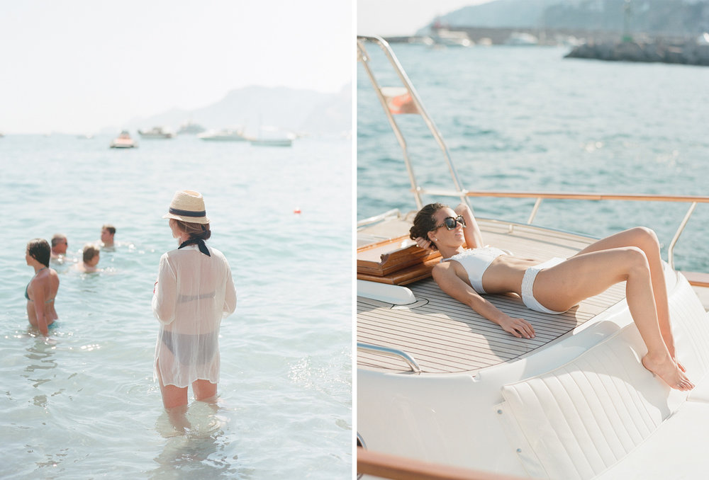 The bride sunbathes on a yacht in Positano, Italy; Sylvie Gil Photography