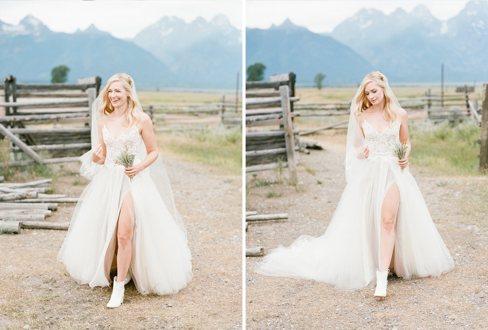 Monique Lhuilier gown, country bride, Grand Teton National Park, Sylvie Gil Photography