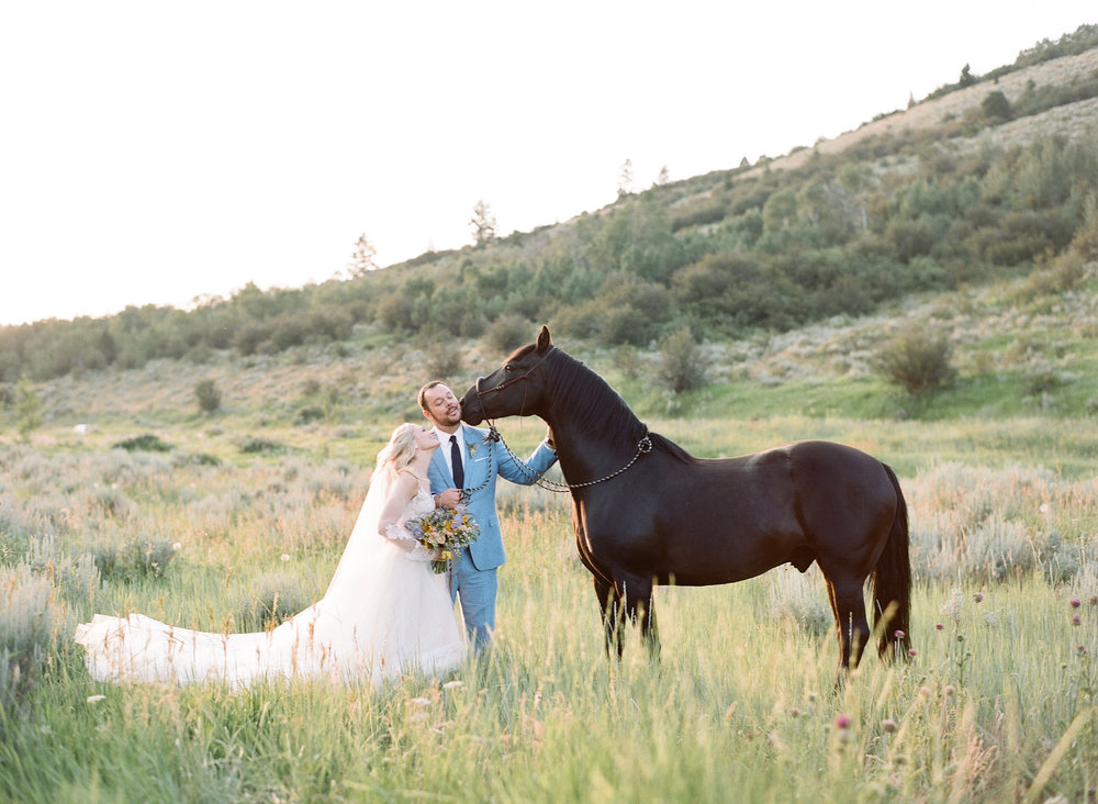 Equestrian bride, equine bridal photography, country wedding, wildhorse and bride, Sylvie Gil Photography