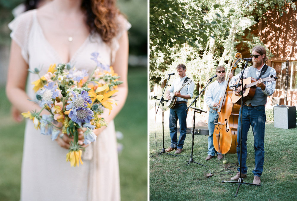 Bridal bouquet with wildflowers, country band, Sylvie Gil Photography
