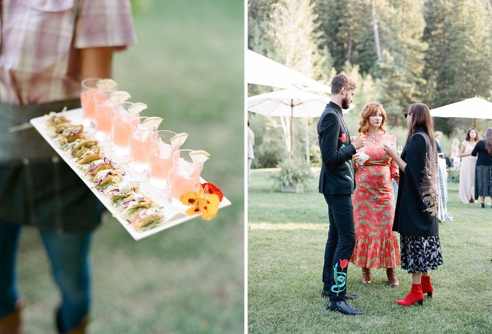 Appetizer platter of mini tacos and margarita shots, famous wedding guests, Sylvie Gil Photography