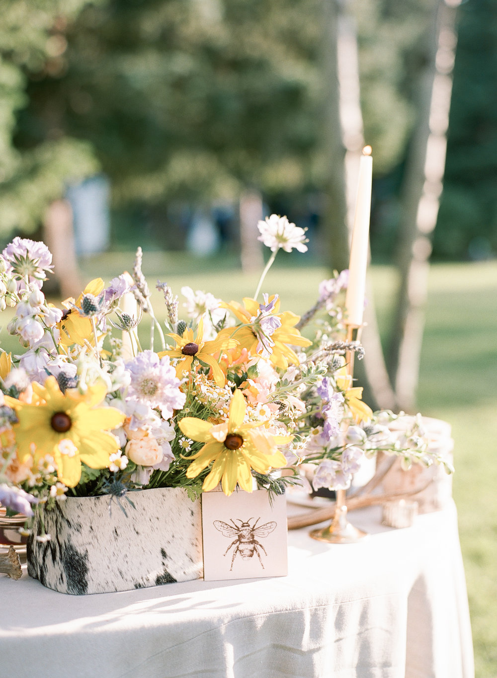 Custom wedding favors, beautiful floral design with local wildflowers, Sylvie Gil Photography
