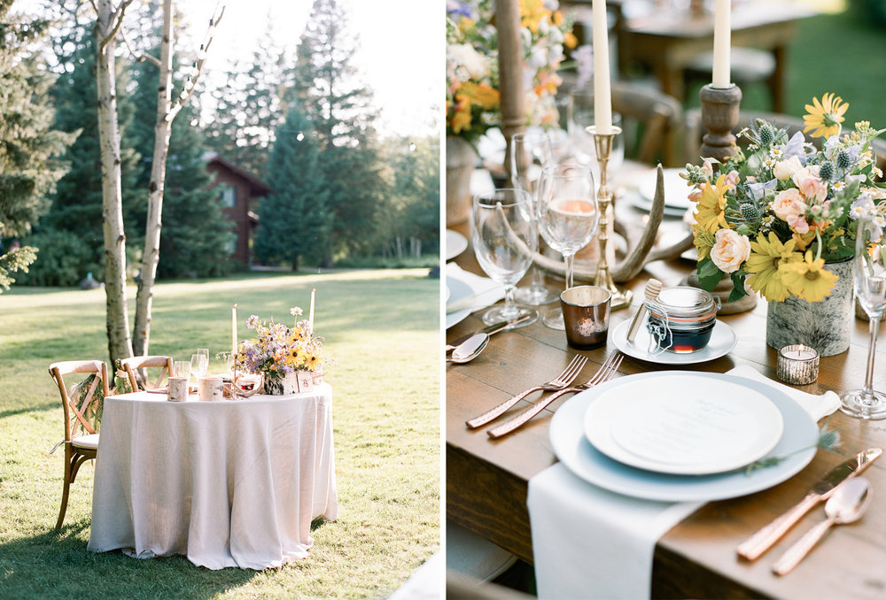sweetheart table for country wedding, homemade honey given to guests at every seat, Sylvie Gil Photography