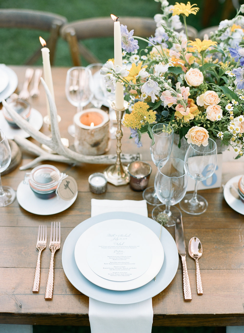 Menu card on beautiful table for country wedding in wyoming, Sylvie Gil Photography