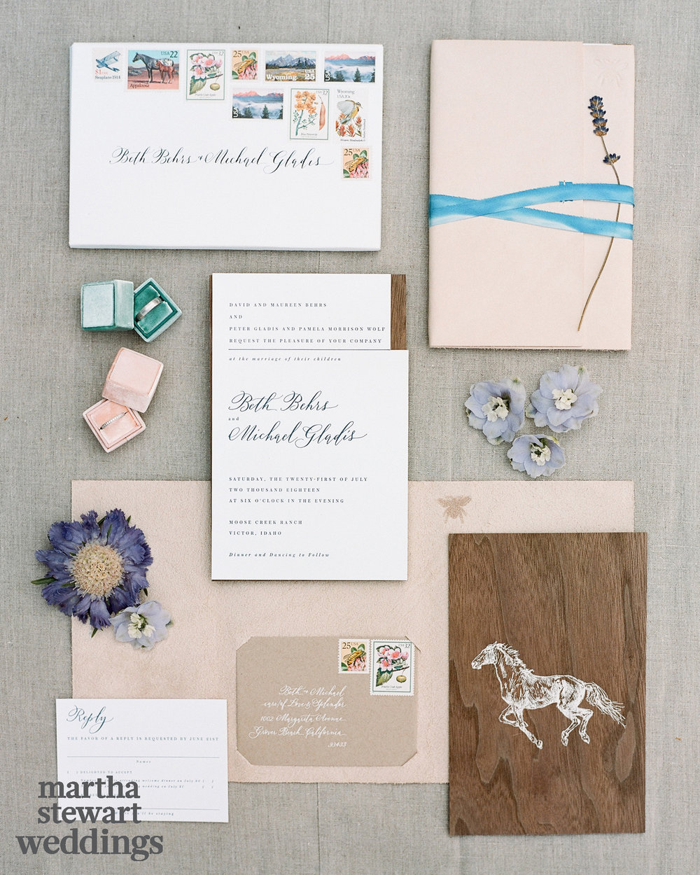 Invitation Suite by Amber Moon Design, Calligraphy by Anne Robin, Illustration by Karina Puente rings in Mrs. Box