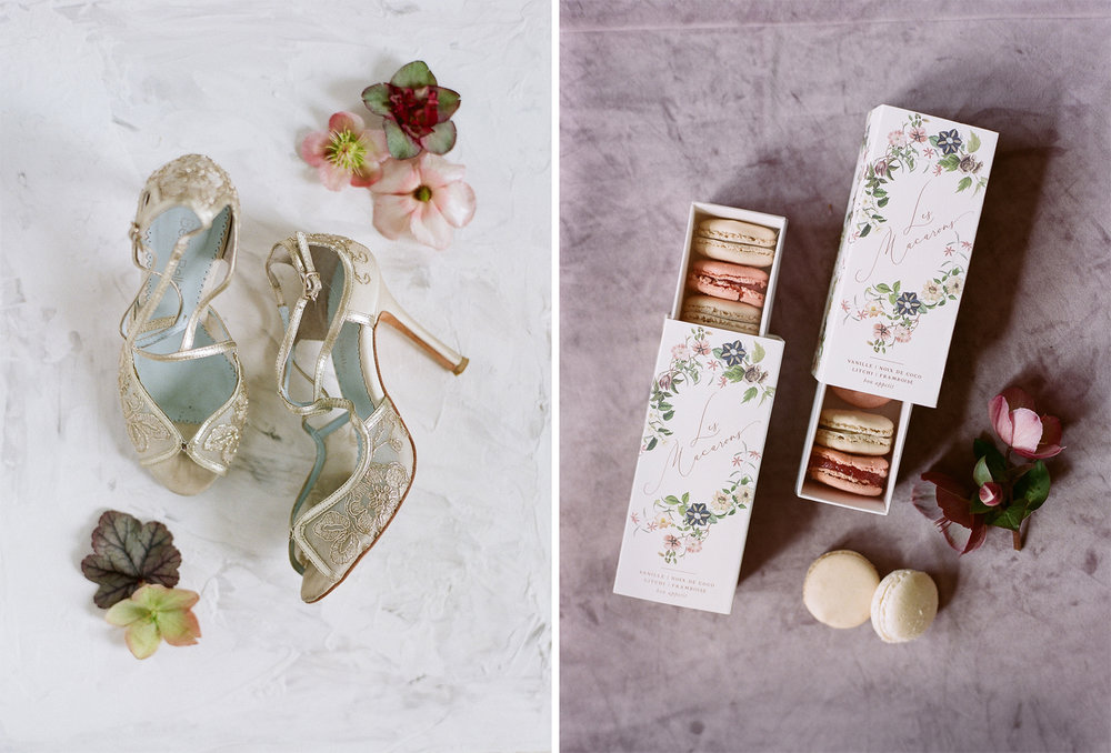 Bride's Bella Belle shoes and a box of French macarons; Sylvie Gil Photography
