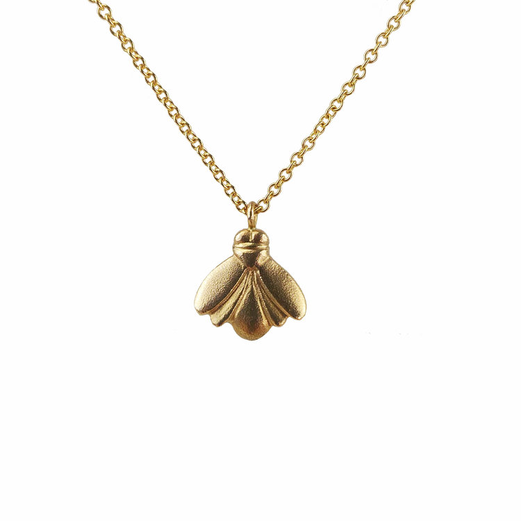 Small 14k yellow gold bee pendant 16 grinstein jewelry design small 14k yellow gold bee pendant 16 aloadofball Choice Image