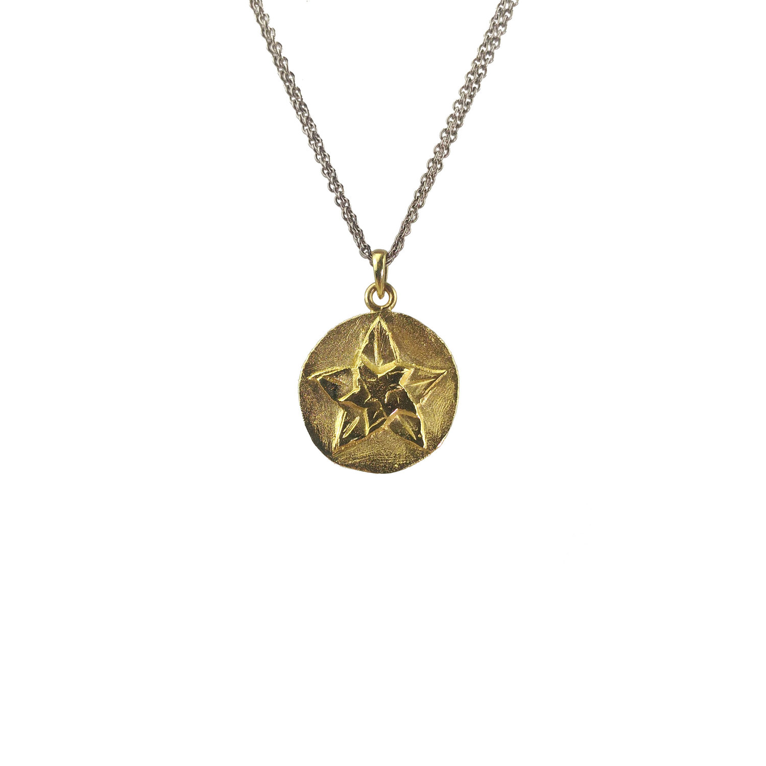 18k yellow gold star pendant on double chain grinstein jewelry 18k yellow gold star pendant on double chain mozeypictures Gallery