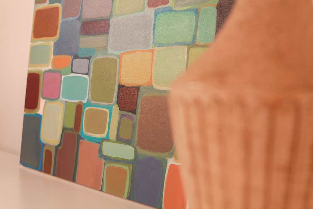 navy danish squares painting // shop >>>