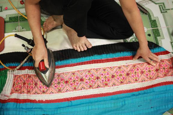 ironing native vietnamese h'mong fabric