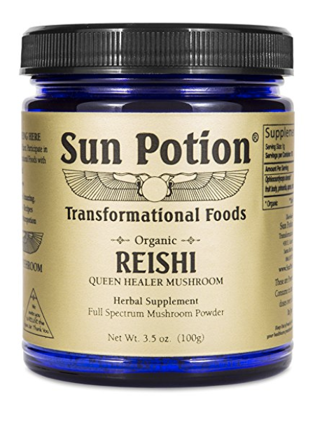 Reishi Mushroom Powder 100g by Sun Potion - Adaptogenic Superfood, Certified Organic, Pure Ganoderma Lucidum Ling Zhi, Immune Booster, Vegan Herbal Supplement, and Adaptogen