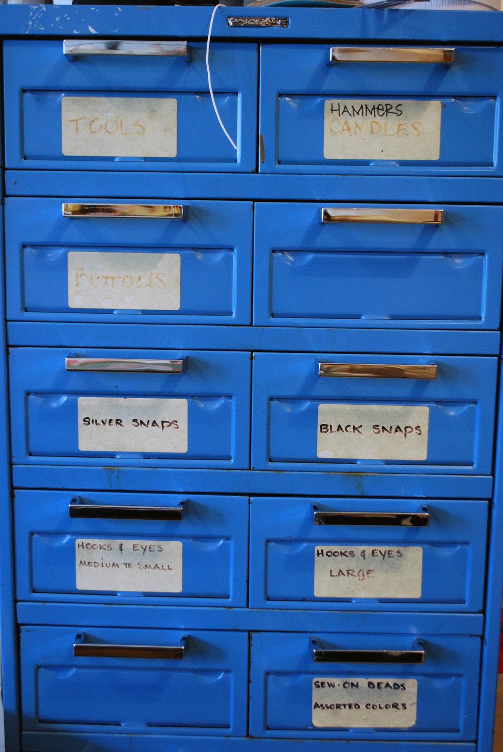 Vintage metal organizing drawers.