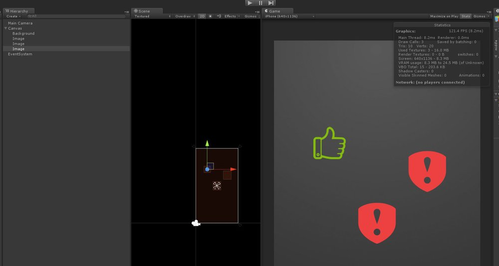 His next image, the like sign, do not add any more draw calls! (YEY) because is in the same atlas