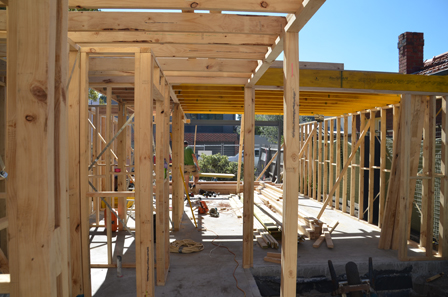 Coleman Architects: Liardet Street Update- Framing going up