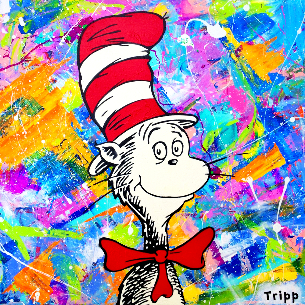 "$575    ""The Cat Who Has A Hat"" 24X24 Gallery Wrapped Canvas Purchase Here"
