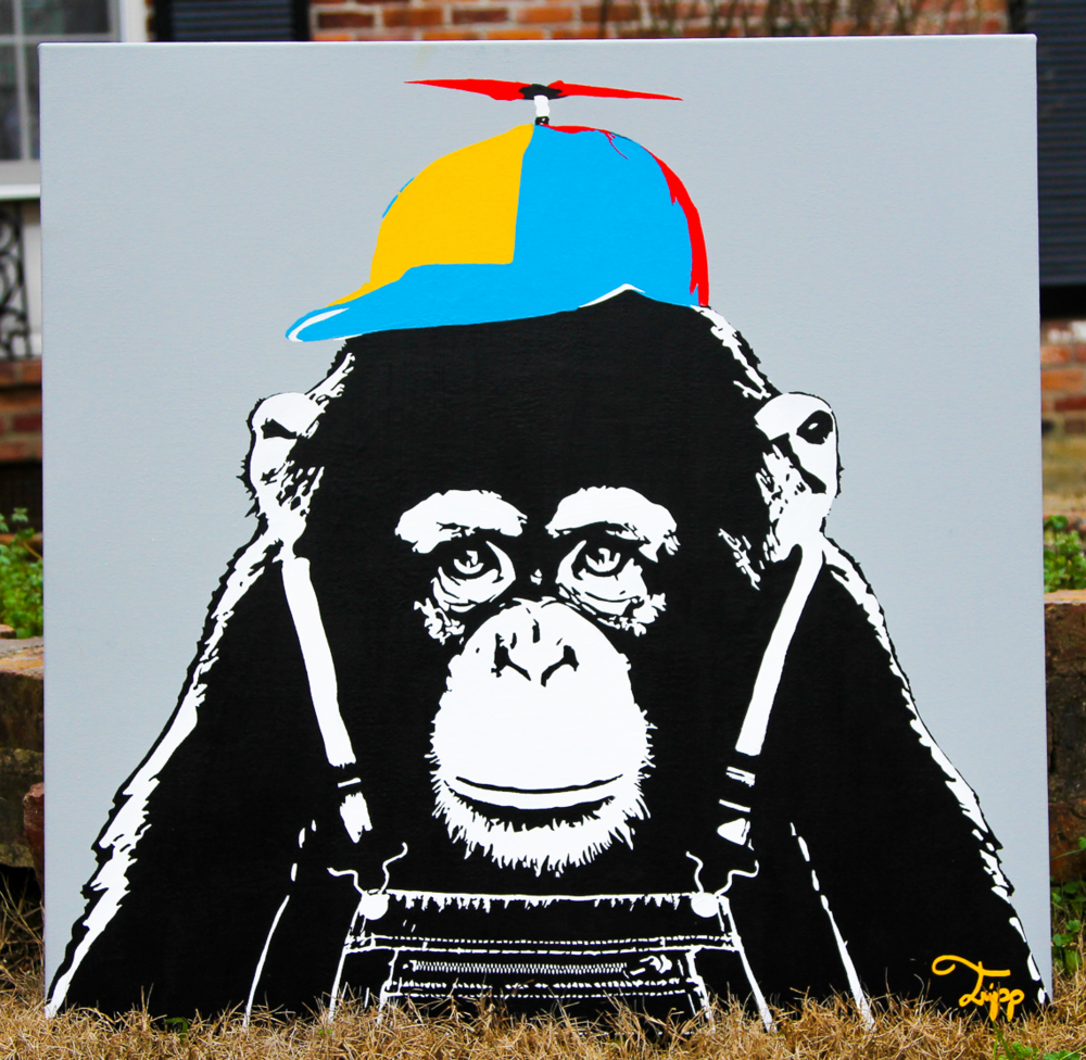 "$550    ""Monkey See Monkey Do"" Acrylic 30X30 Gallery Wrapped Canvas Purchase Here"